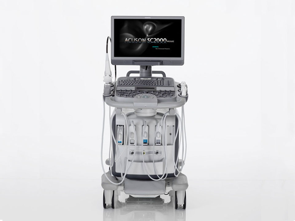 Front view  of the Siemens Acuson SC2000 PRIME ultrasound system