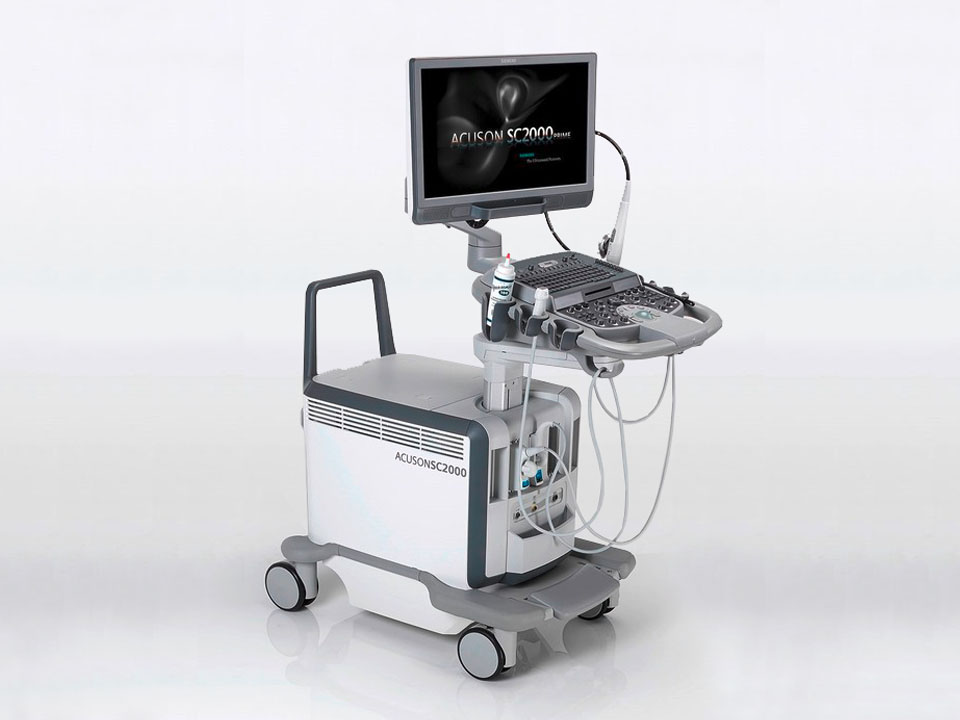 Side view of the Siemens Acuson SC2000 PRIME ultrasound system